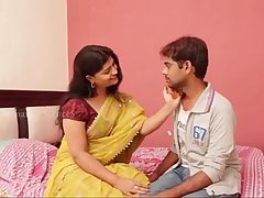 Indian sexy sashi aunty with huge cleavage gropped and enjoyed by young boy anil in bed room - Sex V